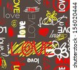 art graffiti vector seamless pattern, background with love, flowers and heart; brown, yellow, red and white colors - stock photo