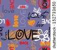 art graffiti vector seamless pattern, background with love, flowers and heart; violet, orange, red, black and white colors - stock photo