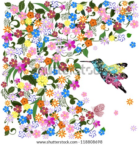 Art grunge floral pattern with bird - stock vector