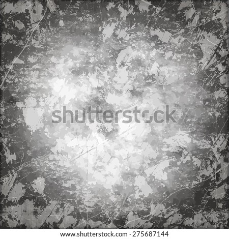 Art grunge vintage paper textured stained background with inkblots and stripes in shades of gray color - stock vector