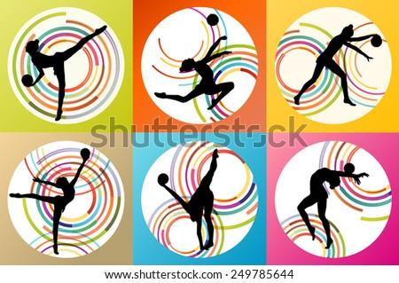 Art gymnastics with balls vector background set concept - stock vector