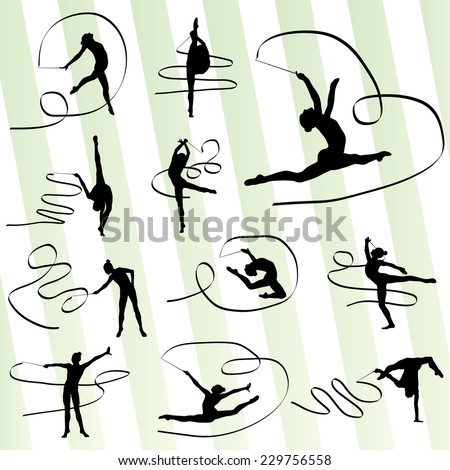 Art gymnastics with ribbon vector background set - stock vector