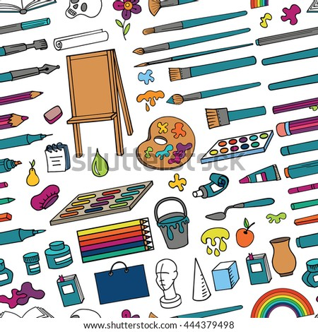 Art hand drawn supplies,instruments seamless pattern.Vector doodle symbols,objects for painting,drawing, sketching. Isolated colored tools.Art background,illustration,wallpaper - stock vector