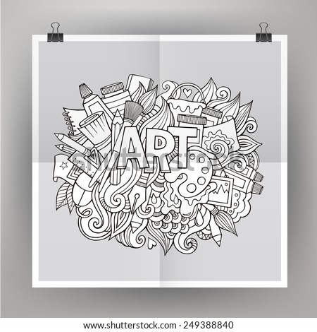 Art hand lettering and doodles elements. Vector illustration - stock vector