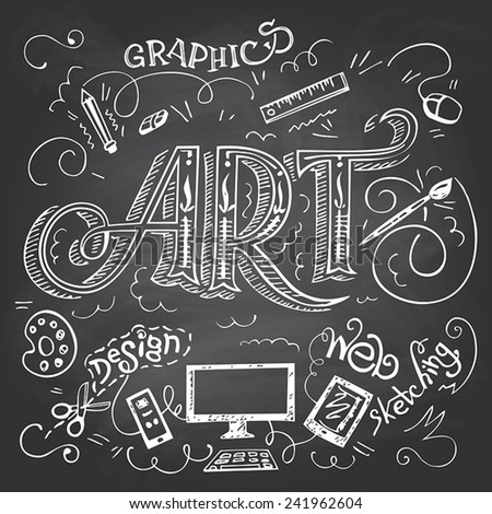 Art hand-lettering typography with hand-drawn elements on blackboard background with chalk - stock vector