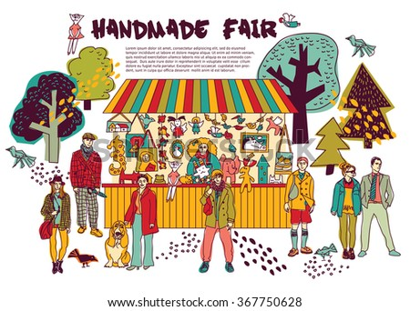Art hand made fair toys in park outdoor. Color vector illustration. EPS8 - stock vector