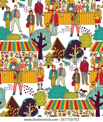 Art hand made fair toys in park outdoor seamless pattern. Color vector illustration. EPS8