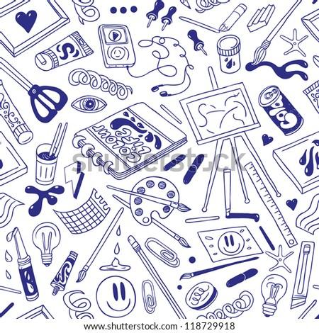 art hobby - seamless background - stock vector