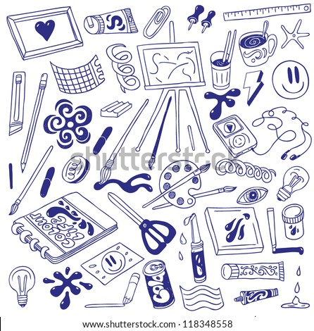 art icons - doodles collection - stock vector