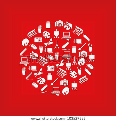 art icons in circle - white color, red background - stock vector