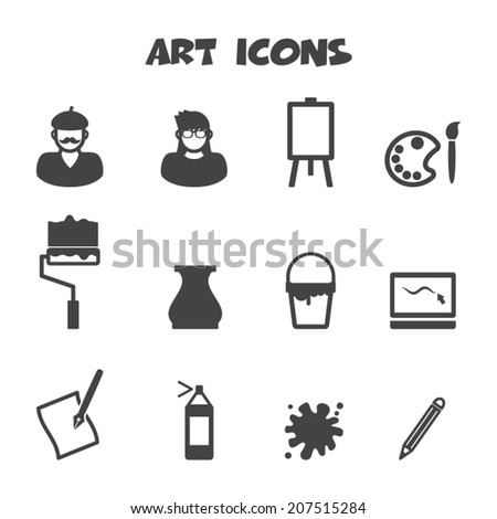 art icons, mono vector symbols - stock vector