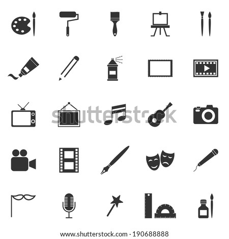 Art icons on white background, stock vector - stock vector