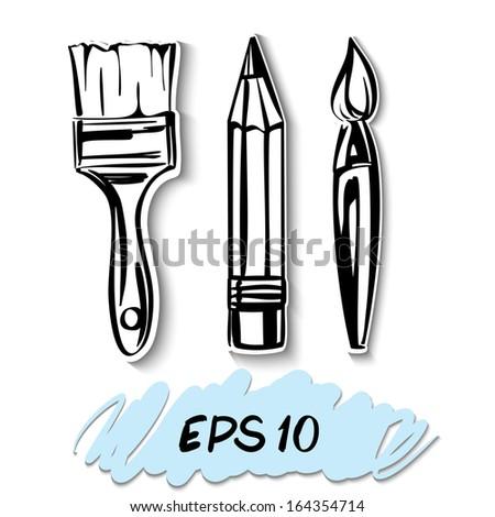 art Icons set. A vector illustration   - stock vector