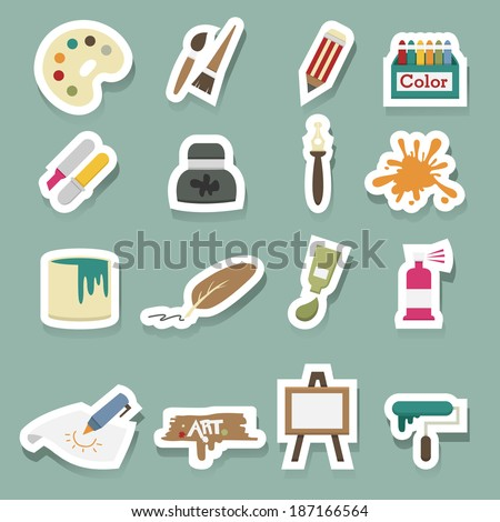 Art icons vector set - stock vector