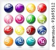 art illustration of set bingo or lottery  balls isolated over white - stock photo