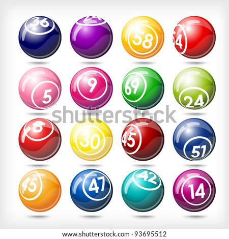 art illustration of set bingo or lottery  balls isolated over white - stock vector