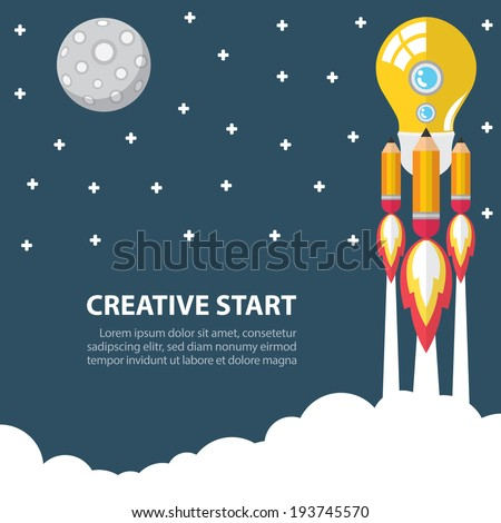 Art launch light bulb and pencil rocket with moon star sky space
