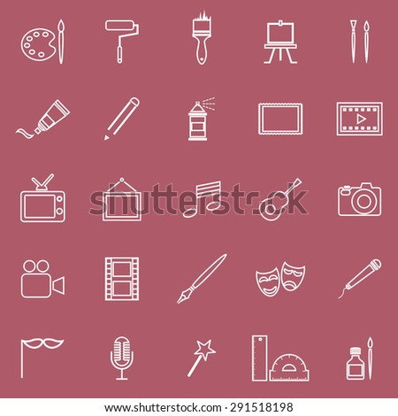 Art line icons on red background, stock vector