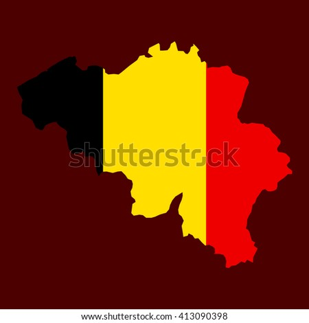 Art map flag of Belgium. Vector flat - stock vector