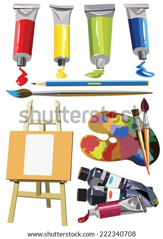 Art materials icons set easel paint palette - stock vector