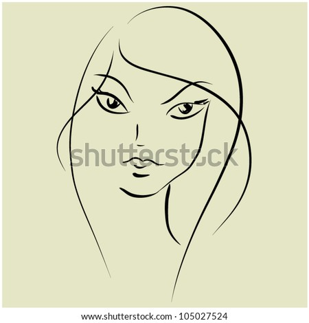 art monochrome black sketching vector beautiful girl face with long hair