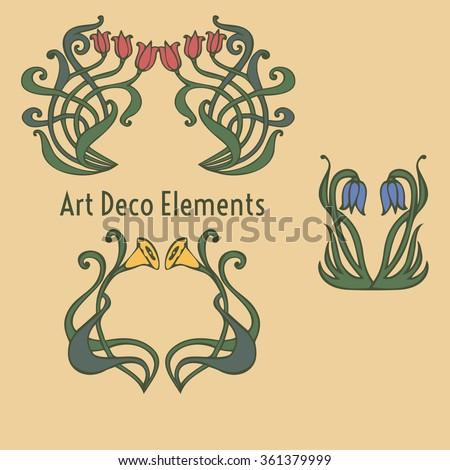 Deco Jugendstil nouveau deco floral ornaments stock vector 361379999