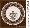 art nouveau design with iris flower - stock vector