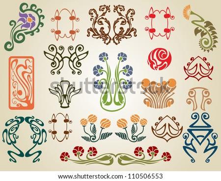 Art nouveau flowers plants stock vector 110506553 for Art deco flowers