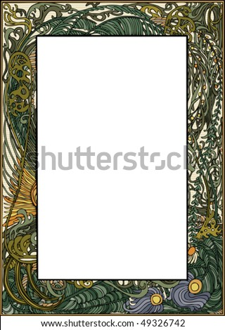 Art Nouveau Frame - Hand drawn in loose style. Outline,  color and background on separate layers.