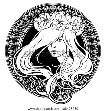 Art Nouveau. Girl in wreath. Ornamental frame. - stock vector