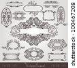 art nouveau label old banner element - stock photo