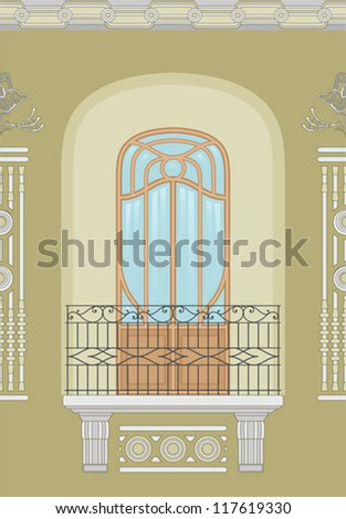 Art Nouveau - seamless facade - stock vector