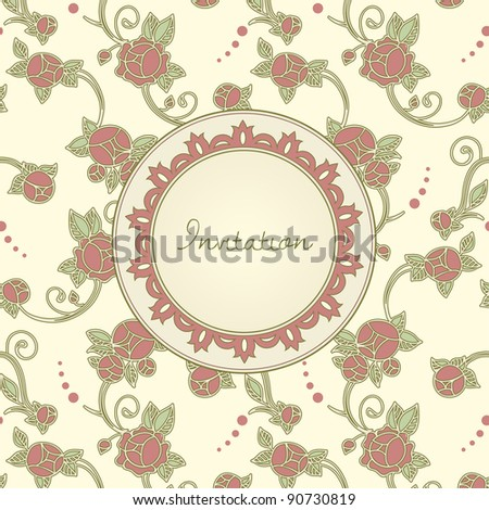 art nouveau style invitation card - stock vector