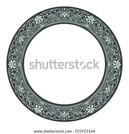 Art nouveau style round frame - stock vector