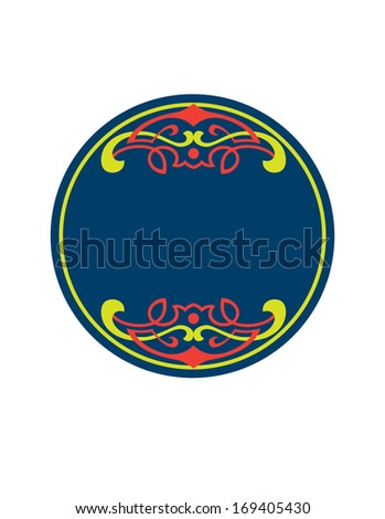 Art Nouveau style round frame with decorative elements - stock vector
