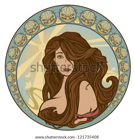 art nouveau style woman portrait with long hair - girl in ornate circle with sun rays and butterflies
