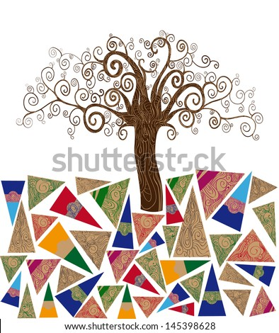 Art noveau style tree idea isolated background. This illustration is layered for easy manipulation and custom coloring - stock vector