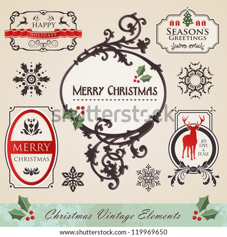 Art noveau vintage christmas season frame elements set. Vector illustration layered for easy manipulation and custom coloring. - stock vector