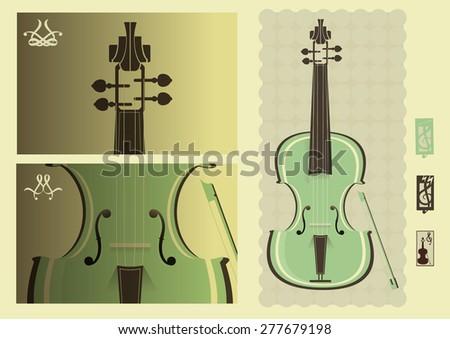 Art of violin playing - stock vector