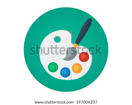 Art Palette Illustration - Flat Icon
