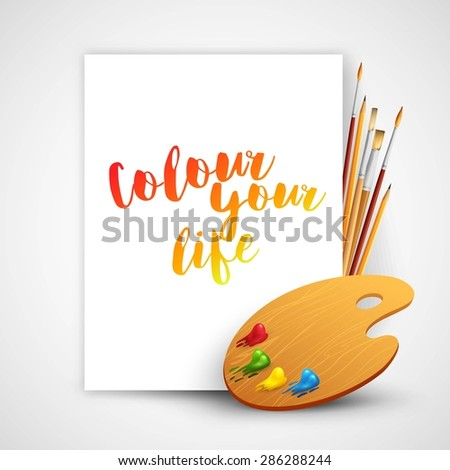 Art palette with paint brush and pencil tools for drawing. Vector illustration EPS10 - stock vector