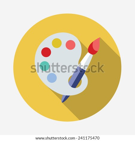 Art palette with paint brush flat icon with long shadow - stock vector