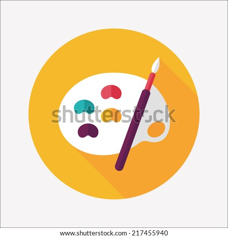 Art Palette With Paint Brush Flat Icon Long Shadoweps 10