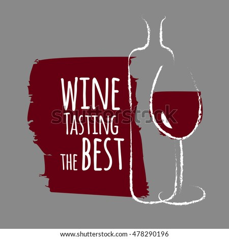 Art Poster Wine Tasting The Best Sketches With Bottles And Glasses Concept