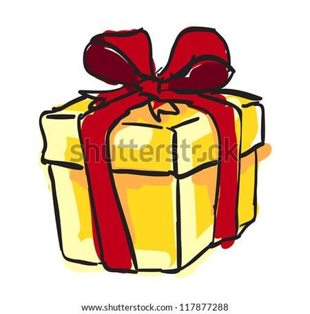 Art present box with red bow tie - stock vector