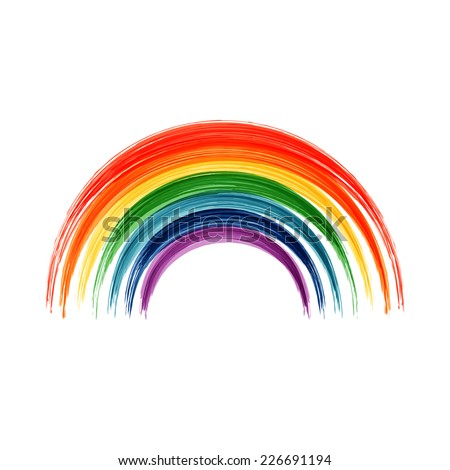 Art rainbow abstract vector background. Acrylic painted rainbow. Colorful background. - stock vector