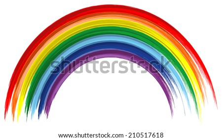 Art rainbow color brush stroke paint background  - stock vector