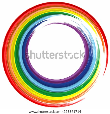 Art rainbow color circle frame abstract splash paint background  - stock vector