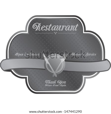 art restaurant metal plate sign - stock vector