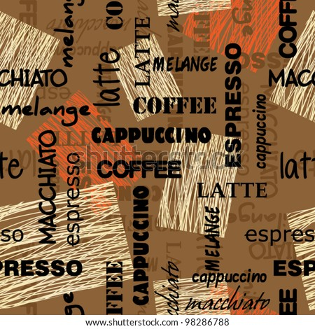 art seamless graffiti background pattern with names sorts of coffee